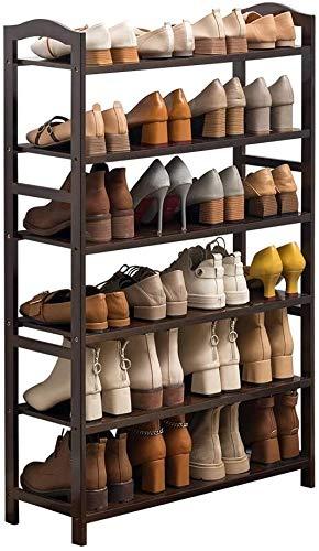 Zapatero Organizador de bambú de 6 pisos zapatero simple Economía Inicio zapato rack de 70 cm de largo x 25 cm de ancho x 108 cm de altura puede acomodar a 24 pares para Pasillo de entrada Pasillo Sal