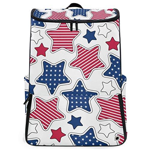 YUDILINSA Viaje Mochila,Patrón sin fisuras de rayas de estrellas americanas,Universitaria Mochila,Laptop Backpack con Compartimento para zapatos