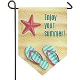N/A Willkommen Sommer Frühling Garten Flagge 12 * 18 genießen Sie Sommer Flip-Flop Schuhe Seestern Strand mit Haus Hof Fahnen, Dreieck Outdoor Indoorations