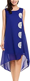 Qearal Womens Summer Chiffon Sleeveless Lace Embroidered Flowy High Low Party Beach Dress