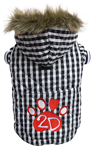 Doggydolly W344 stylish, warme Hundewinterjacke/Wintermantel mit Kapuze, Stickerei 2D Pfote und Kunstpelz, XXL