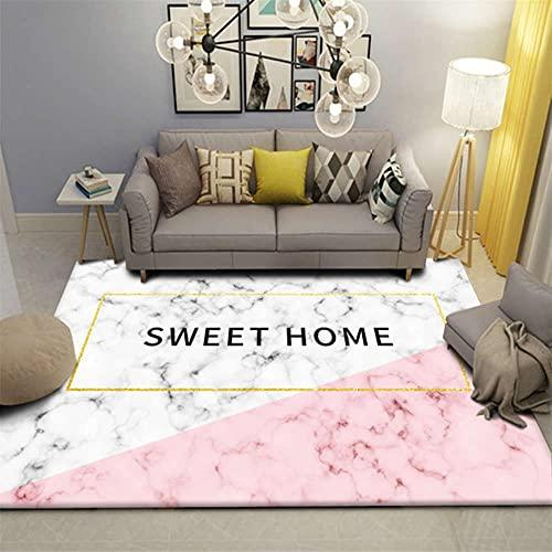 Alfombra de estilo nórdico de moda con diseño de diamante de mármol para dormitorio, alfombra antideslizante para el suelo, alfombra de franela suave para sala de estar o decoración del hogar