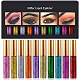 Glitter Liquid Eyeliner 10 Colors Metallic Shimmer Glitter Eyeshadow Sparkling Eyeshadow Cosmetic Glow Pigment Eye Shadow Long Lasting Waterproof Face Lips Art Gold Silver Eyeliners