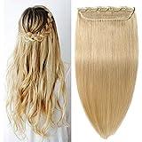 Extension Clip Capelli Veri Fascia Unica Volumizzante #613 Biondo - Estensioni 5 Clips Larga 23cm Lunga 40cm 100% Remy Human Hair Capelli Naturali Lisci 80g