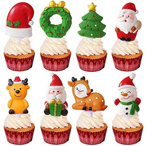 Decorazioni natalizie per torta di Babbo Natale, cervo, stella, campana, per feste, feste, feste, compleanni, matrimoni, 8 pezzi