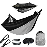 Hitorhike Camping Hammock with Mosquito Net Nylon Tree Straps Detachable Aluminum Poles and Steel Carabiners, 2 in 1 Function Design for Backpacking, Camping, Travel, Beach, Backyard (Black with Gray)