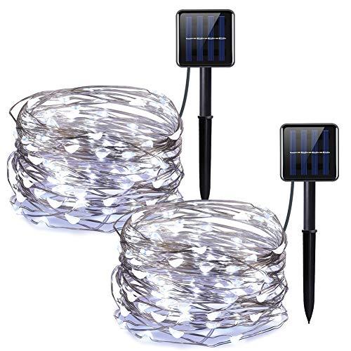 Guirlande lumineuse 20 m 200 LED à énergie solaire IP65 étanche pour fête, chambre à coucher, mariage, intérieur et extérieur (lot de 2)