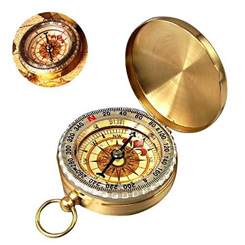 De.Zev Messing Kompass Outdoor, Kompass Navigation Tools mit Leuchtziffern, Portable Wasserdicht Taschenkompass, Compass Für Camping, Wandern und andere Outdoor-Aktivitäten