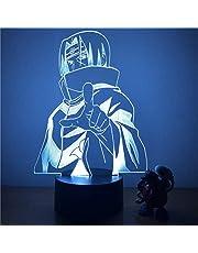 3D-illusionslampa LED nattlampa Naruto Uchiha Itachi action 7 färger touch bordslampa dekoration optisk modell bästa födelsedag för barn