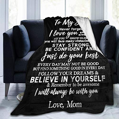 Greatertouch Fleece Blanket Throw to My Son from mom I Love You...