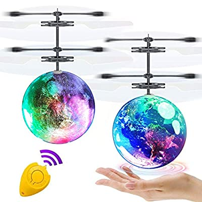 AMENON 2 Pack Flying Ball Toys Kids Holiday Birthday Gifts for Boys Girls 6-14 Years Light Up Hand Operated Drones Hover Ball Recharge Helicopter with Remote Controller Indoor Outdoor Sports Toy from AMENON
