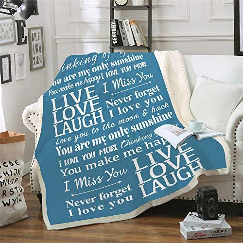 WNxiaobaozi deken, beddengoed in warme 3D druktoek, blauw Engels serie, pluizig zachte fleece deken, Sherpa flanel pluche deken voor de slaapbank, 51.18 × 59,05 in (130 × 150 cm werpen)