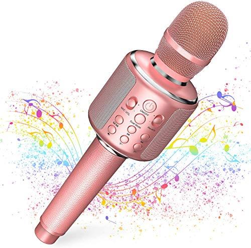 カラオケマイク bluetooth 大容量 3000mAhカラオケマイクGoodaaa ワイヤレス マイク ブルートゥース カラオケマイク無線マイク 一人カラオケTWS機能&伴奏機能TFカード/Aux再生エコー録音機能 革ハンドルAndroid/iPhoneに対応 一年間保証 技適認証Telec/PSE/METI届出書を取得済 (ピンク)