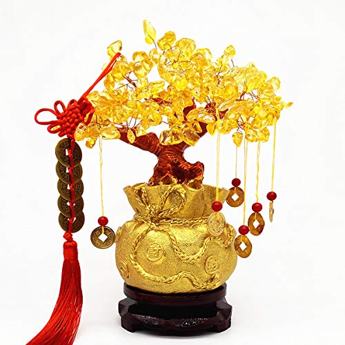 Colorsheng Feng Shui Yellow Quartz Crystal Tree, Bonsai Style Money Trees Decoration for Luck and Wealth (Purse)