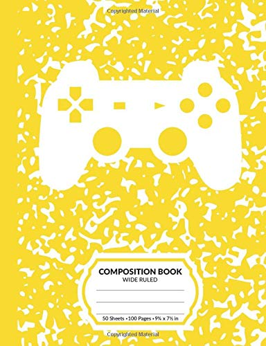 Composition Book: Gamer Yellow Marble Pattern School Notebook | 100 Wide Ruled Blank Lined Writing Exercise Journal For Boys and Girls | Video Game Controller Back To School Gift For Students