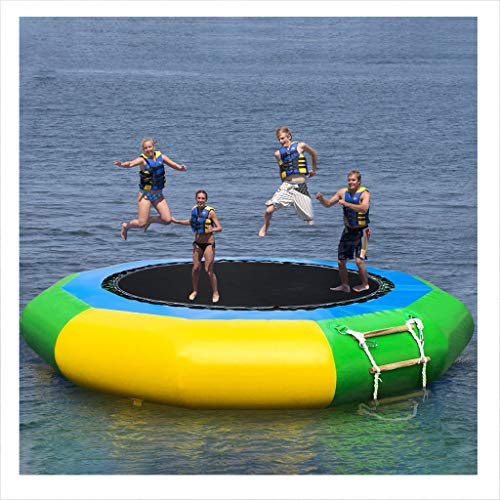 Ama-store 10 Ft Inflatable Water Trampoline Splash Padded Water Bouncer Inflatable Bouncer Jump Water Trampoline Bounce Swim Platform for Water Sports