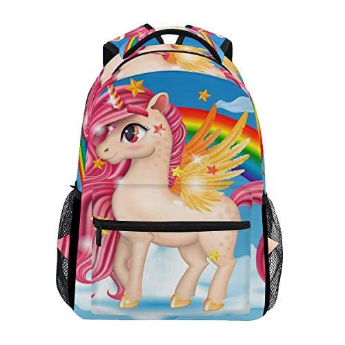 Zaini scolastici 3D Pony Unicorno con gioiello rosa occhi grandi e ali d'oro zoccoli The Cloud Rainbow Zaino per studenti grande per ragazze bambini scuola elementare borsa a tracolla Bookbag