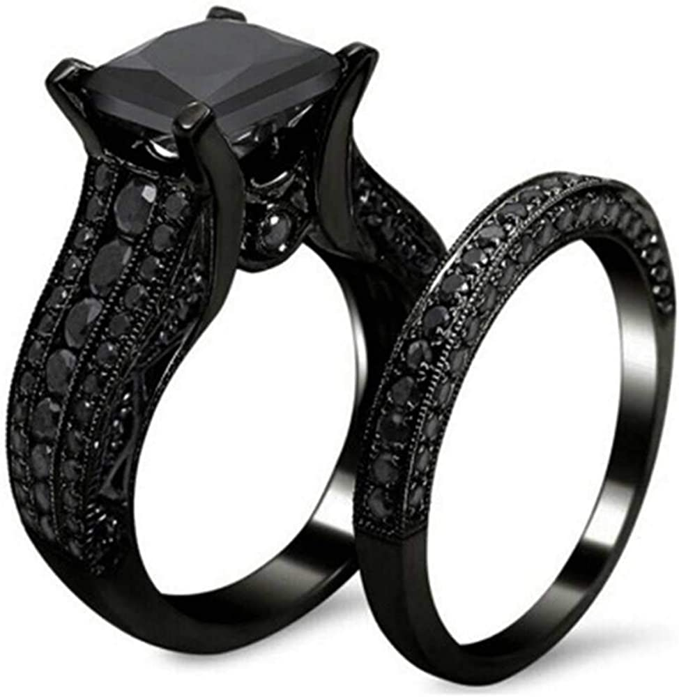 Jude Jewelers Black Princess Cut Two-in-One Wedding Engagement Proposal Anniversary Bridal Ring Set