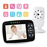 Video Baby Monitor 3.5' Large LCD Screen Display with Night Vision Camera, Two Way Talk Audio, Temperature Sensor, ECO Mode, Lullabies and Long Transmission Range