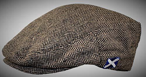 Flat Cap Grey Herringbone Saltire
