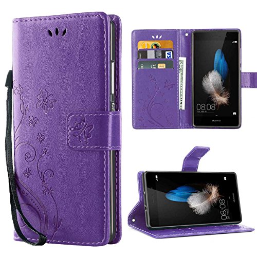 iDoer Huawei P8 Lite Hülle, Solide Butterfly PU Ledercase Tasche Hülle Schutzhülle Flip Case Magnetverschluss Handyhülle im Wallet Bookstyle Standfunktion für Huawei P8 Lite 5.0 Zoll - lila