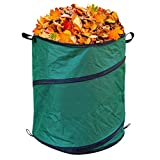 TABOR TOOLS Pop Up Waste Bag, Kangaroo Bag, Reusable Yard Waste Bag, Collapsible Leaf Container with Pop-Up Spring, Canvas Trash Can for Garden, RV or Camping (30 Gal). TR35A.