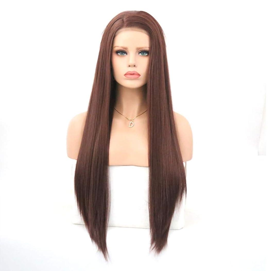 祝福謝罪する疎外するKerwinner 茶色のフロントレース化学繊維かつらヘッドギア高温シルクロングストレートウィッグ女性用 (Size : 22 inches)