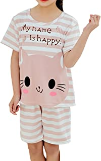 8y-18y BAIYIXIN Big Girls Cute Long Sleeve Fall Winter Cotton Pajamas Set Longwear 2Pieces