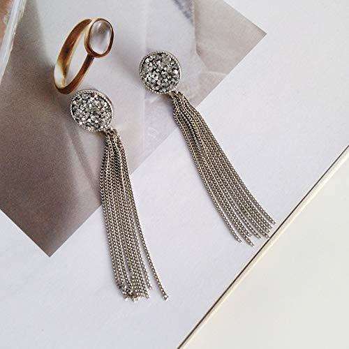 Chwewxi Japanische und koreanische Mode schöne einfache Kleid Rock Ohrringe Mode Wilden Metall Textur Temperament Gesichtsform kein Loch Ohrclip, Paar Silber Ohrringe