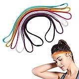 6 Pcs Non-Slip Elastic Headband Sport Headbands for Women Thin Sport Headbands Suitable for Yoga, Running (Multi-Color)