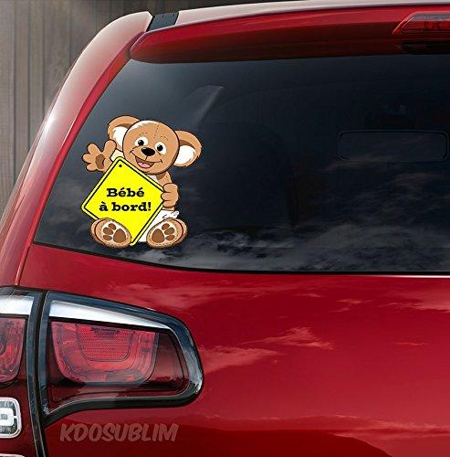 Autocollant couleur Sticker adhésif Koala bébé à bord par Kdosublim