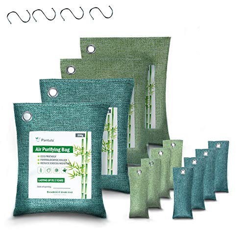 Pantula Bamboo Charcoal Bags - Activated Charcoal - Air purifying bags 12 Pack - Odor absorber - Air Freshener (200G*4 50GG*8) Natural Fresh charcoal bags Air Freshener and Purifiers for Home,Pet,Car