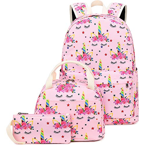CAMTOP School Backpack for Girls Teens Bookbag Set Cute Student Backpack 3 In 1, School Bags + Lunch Box + Pencil Case (Pink-1)