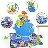 Jouet Montessori Enfant Bebe 3+ Ans 4 en 1 Montessori Matériel Jeu De Pêche à La Ligne Puzzle Jouet en Bois Peche a l Aimant Jeux Société Éducatif Cadeaux pour Filles Garcons 3+ Cadeau d'halloween