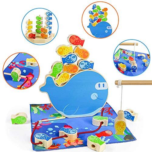 Juguetes Montessori 4 in 1 Torre de Aprendizaje Educativos Magneticas Pescar Peces de Juguete Madera Puzzle Bebe Niños 3 4 5 Años