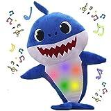 Baby Shark Jouet en peluche pour bébé requin en forme de requin anglais chantant doux avec lumière - Cadeau idéal pour garçons et filles jaune