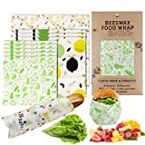 Reusable Beeswax Food Wraps Assorted Set of 9 Packs Washable Eco-Friendly Odorless Organic Bees Wax Food Storage Wrappers for Sandwich Bread Alternative To Plastic Bags, Sustainable Products