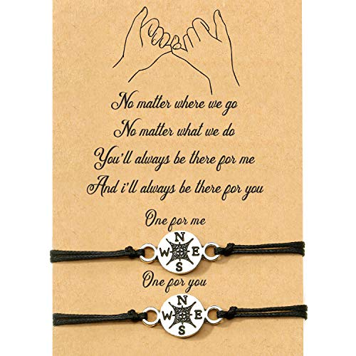 WILLBOND 2-Piece Pinky Promise Bracelets Friendship Couple Distance Matching Graduation Bracelet Bohemia (Big Compass)