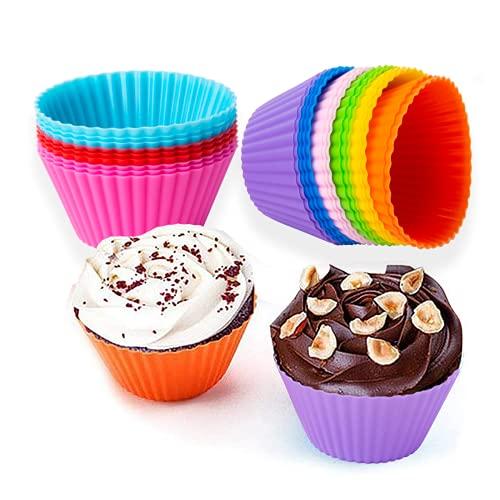 27 pièces Moule Silicone,Moulle muffins,Tasses en papier à Moulle Cupcakes, moulle silicone patisserie en 9 couleurs, Pour Muffins et Gâteaux aux œufs.