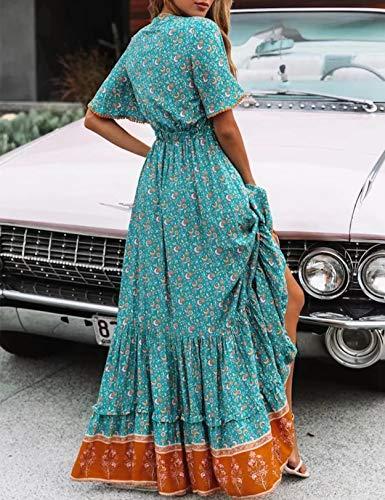 Vestido Mujer Bohemio Largo Verano Playa Fiesta Floral/Polka Dot Maxi Vestidos Cóctel Falda Larga con Cinturón (S, Lakeblue)
