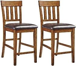 Signature Design by Ashley - Ralene Upholstered Barstool - Rake Back - Set of 2 - Medium Brown