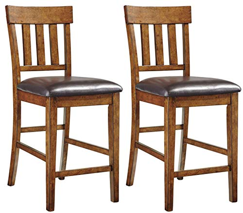 Signature Design by Ashley - Ralene Upholstered Barstool - Rake Back - Set of 2 - Medium Brown