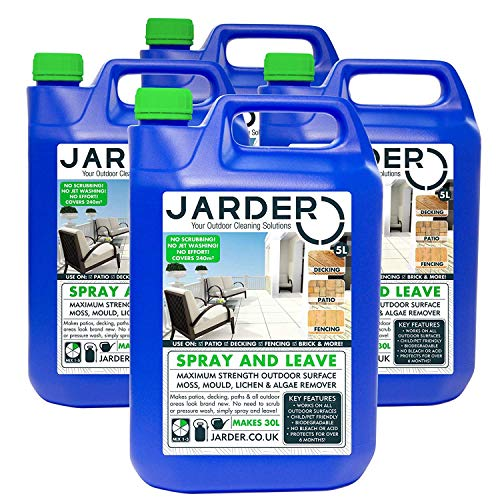 Jarder Spray & Leave 4 x 5 Litre Concentrate Cleaner - Patio Fencing Decking - Moss Mould & Algae Killer (20L)