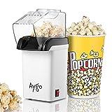 Aygo Macchina per Popcorn ad Aria Calda - Macchina Pop Corn Cottura Sana, Senza Grassi - Bocca Larga, Coperchio Rimovibile, Antiaderente, Facile da Pulire - Design Compatto, Bianca - 1200w