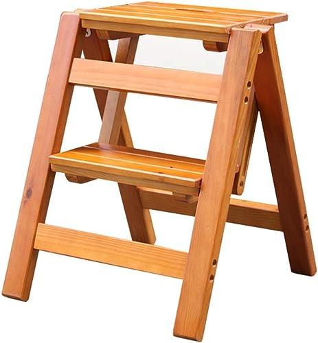 Escabeau pliant, Tabouret-échelle en bois à 2 marches, anti-dérapant, multifonctionnel, chambre à coucher, salon 38 x 45 x 51 cm