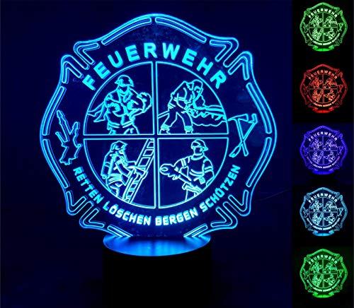 Roter Hahn 112 Feuerwehr LED Leuchte Lampe Nachtlicht Designleuchte fireLED mit 6 versch. Farben Touchfunktion