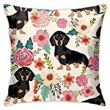 Mixcder Funny Dachshund Dog Throw Pillow Case Cushion Cover Funny Square Sofa Home Decor Gifts 18x18 Inch(45 X 45cm)