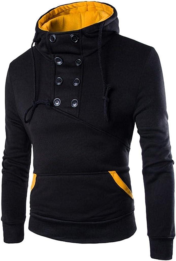 Hoodies for Men Autumn Long Sleeve Patchwork Hoodie Hooded Sweatshirt Top Tee Outwear Blouse Fashion Hoodies & Sweatshirts
