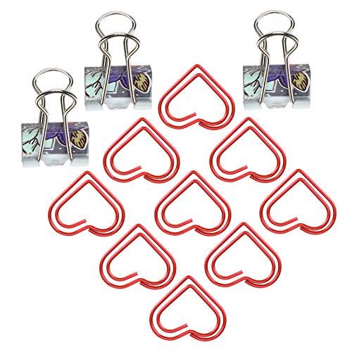 Pappersklämmor, bindningsklämmar, utsökta för affischer reklamblad kuvert (rött hjärta)