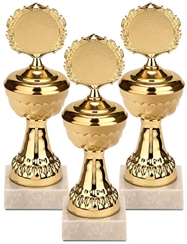 Brubaker goldene Trophäe Pokal - Metallpokal auf Marmor Sockel 21 cm - Preis für Gewinner Sieger Sportveranstaltungen Kindergeburtstage